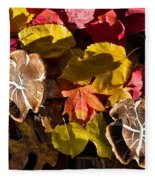 Mushrooms In Fall Leaves Fleece Blanket
