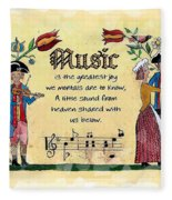 Music Fraktur Fleece Blanket