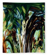 Music In Bird Of Tree Drip Painting Fleece Blanket