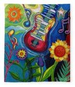 Music On Flowers Fleece Blanket