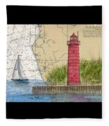 Muskegon Lighthouse Mi Nautical Chart Map Art Cathy Peek Fleece Blanket