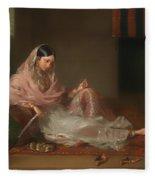 Muslim Lady Reclining Fleece Blanket