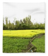 Mustard Fields In Kashmir On The Way To The Town Of Sonamarg Fleece Blanket