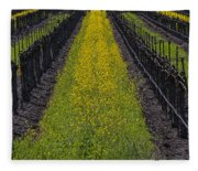Mustard Grass In Vineyards Fleece Blanket
