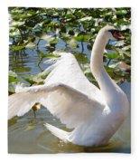 Mute Swan Wings Fleece Blanket