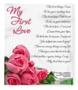 My First Love Poetry Art  Fleece Blanket