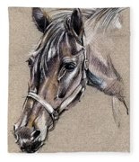 My Horse Portrait Drawing Fleece Blanket