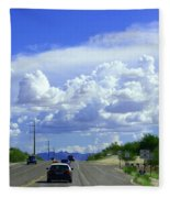 My House Over The Hill Under The Clouds Fleece Blanket