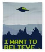 My I Want To Believe Minimal Poster Fleece Blanket