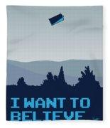 My I Want To Believe Minimal Poster- Tardis Fleece Blanket
