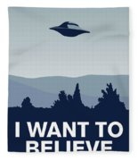My I Want To Believe Minimal Poster-xfiles Fleece Blanket by Chungkong Art