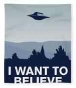 My I Want To Believe Minimal Poster-xfiles Fleece Blanket