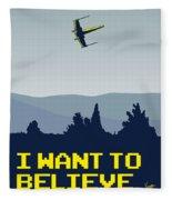 My I Want To Believe Minimal Poster- Xwing Fleece Blanket