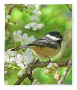 My Little Chickadee In The Cherry Tree Fleece Blanket