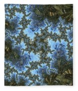 My Maui Fractal Art Abstract Palms And Blue Sky And Waters Fleece Blanket
