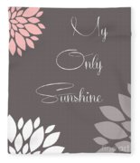 My Only Sunshine Peony Flowers Fleece Blanket