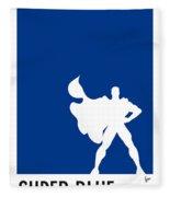 My Superhero 03 Super Blue Minimal Poster Fleece Blanket