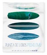 My Surfspots Poster-3-punta De Lobos-chile Fleece Blanket