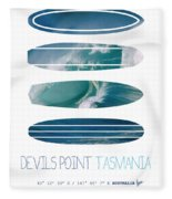 My Surfspots Poster-5-devils-point-tasmania Fleece Blanket