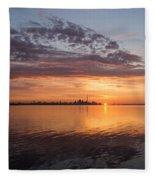 My World This Morning - Toronto Skyline At Sunrise Fleece Blanket