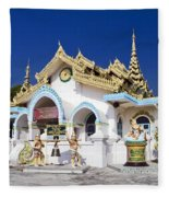 Myanmar Buddhist Temple Fleece Blanket