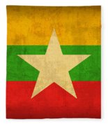 Myanmar Burma Flag Vintage Distressed Finish Fleece Blanket