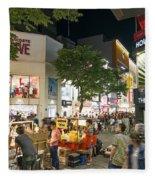Myeongdong Shopping Street In Seoul South Korea Fleece Blanket