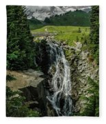 Myrtle Falls In Front Of Mt. Rainier Fleece Blanket