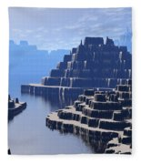 Mysterious Terraced Mountains Fleece Blanket