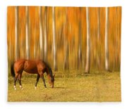 Mystic Autumn Grazing Horse Fleece Blanket