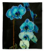 Mystique Blue Orchids Fleece Blanket
