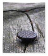 Nail And Old Wood Fleece Blanket