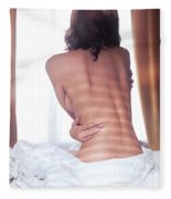 Naked Back Of A Woman Sitting On A Bed Fleece Blanket