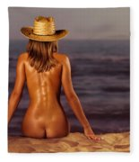 Naked Woman Sitting At The Beach On Sand Fleece Blanket