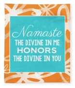 Namaste Watercolor Flowers Fleece Blanket