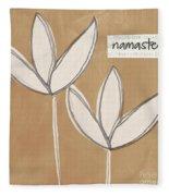 Namaste White Flowers Fleece Blanket