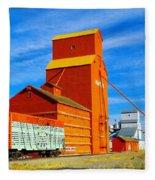 Nanton Grain Elevators  Fleece Blanket