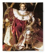 Napoleon I On His Imperial Throne Fleece Blanket