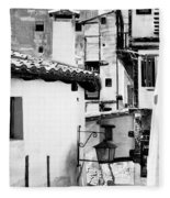 Narrow Streets Of Albarracin  Black And White Fleece Blanket