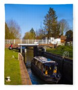 Narrowboat In Lock Fleece Blanket