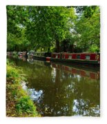 Narrowboats Moored On The Wey Navigation In Surrey Fleece Blanket