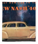 Nash 400 - Vintage Car Poster Fleece Blanket