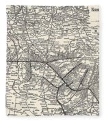 Nashville Railway Map Vintage Fleece Blanket