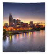 Nashville Skyline Panorama Fleece Blanket