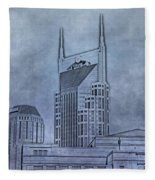 Nashville Skyline Sketch Fleece Blanket