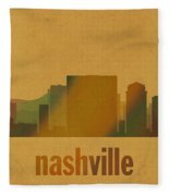 Nashville Tennessee Skyline Watercolor On Parchment Fleece Blanket