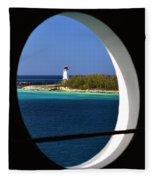 Nassau Lighthouse Porthole View Fleece Blanket