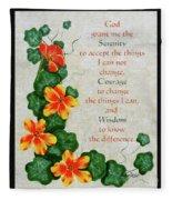Nasturtiums And Serenity Prayer Fleece Blanket