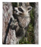 Nasty Raccoon In A Tree Fleece Blanket