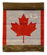 Canada National Flag On Wood Fleece Blanket